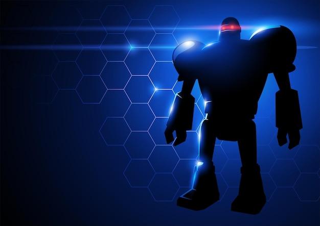 Vector illustration of a robot on hi-tech background
