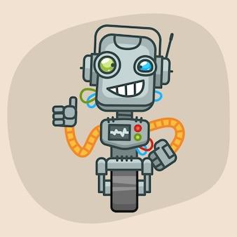 Векторная иллюстрация, робот улыбается и показывает палец вверх, формат eps 10