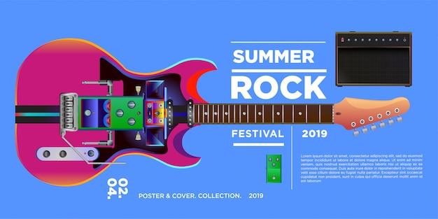 Vector illustration rock music and guitar festival