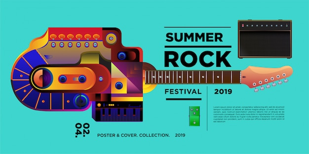Vector illustration rock music and guitar festival