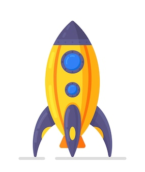 Vector illustration of a rocket ship isolated on a white background. children's toy. icon of a rocket ship in flat design style.
