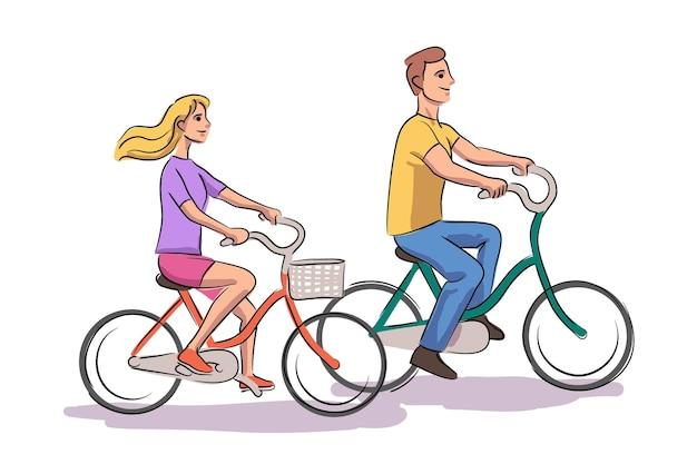 ベクトルイラストロマンチックなカップルの日常生活を一緒に。自転車に乗る男女