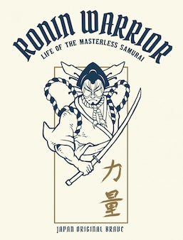 Vector illustration of ronin samurai warrior with japanese word means strength