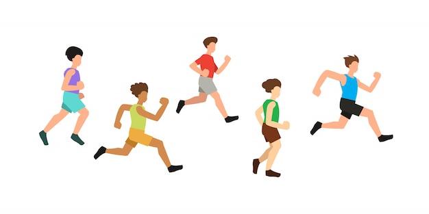 Vector illustration of running men