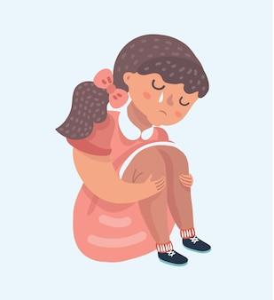 Vector illustration of sad girl cartoon sitting alone Premium Vector