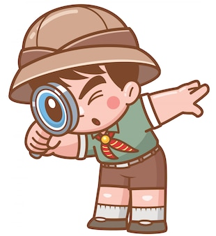 Vector illustration of safari boy with magnifying glass