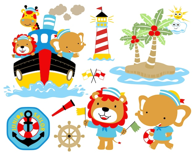 Vector illustration of sailing theme set cartoon.