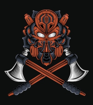 Vector illustration of a samurai robot head, whether for or merchandise, clothing or otherwise