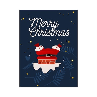 Vector illustration of santa claus in red costume stuck in chimney.