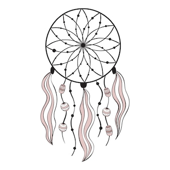 Vector illustration in scandinavian style, dream catcher.
