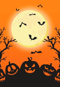 Vector illustration of scary pumpkins under a full moon. round moon. halloween holiday. candy or death.