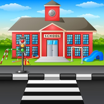 Vector illustration of scene school building and playground