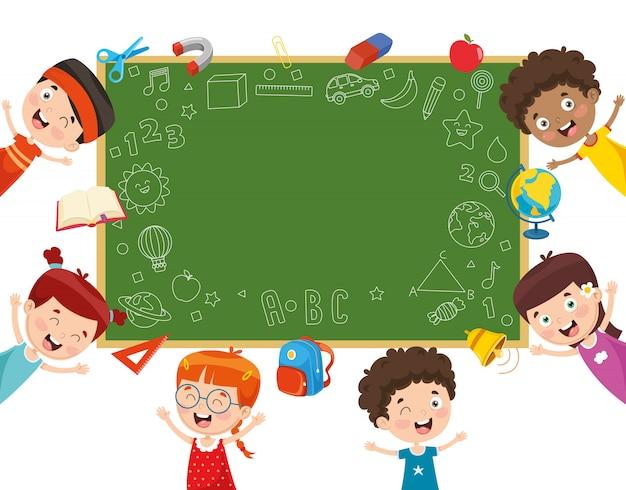 Vector illustration of school children
