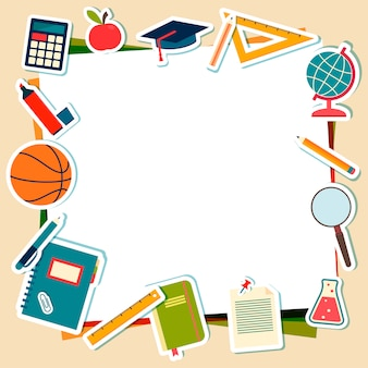 Vector illustration of school supplies and tools