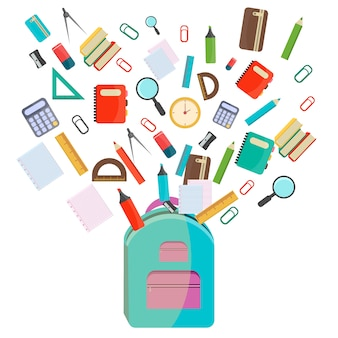 Vector illustration school supplies.