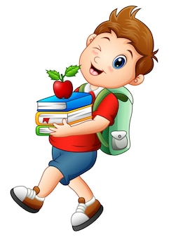 Vector illustration of schoolboy carrying books and apple