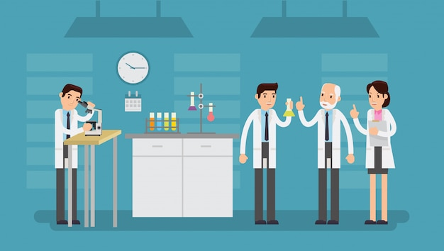 Vector illustration of scientist character