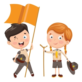 Vector illustration of scout children