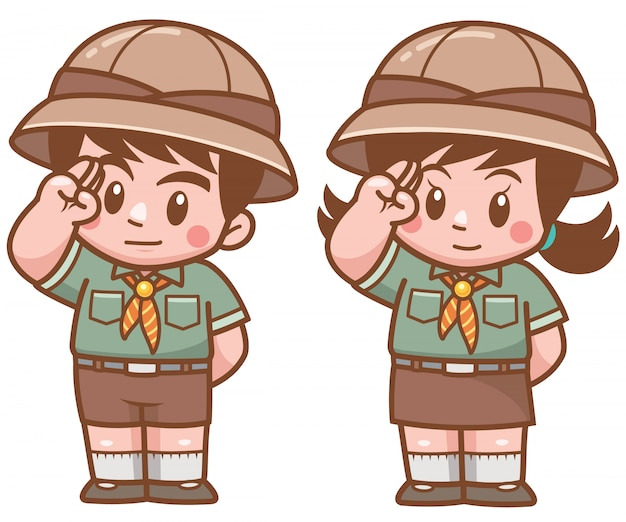 Vector illustration of scout kids character
