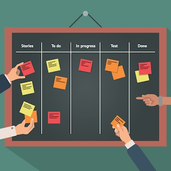 Vector illustration of scrum agile board with flat hand and stickers.