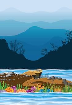 Векторные иллюстрации море и горы