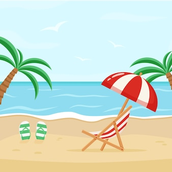 Vector illustration of the sea coast with a deck chair and umbrella. sunny day at the beach.