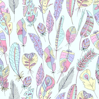 Vector illustration of a seamless multicolored pattern of feathers of birds