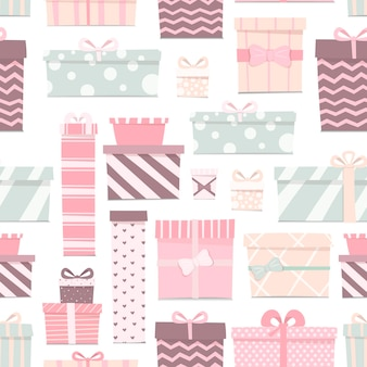 Vector illustration of a seamless pattern of cute gifts of different shapes and colors. boxes with bows of delicate colors. cartoon decorations for the festive background.