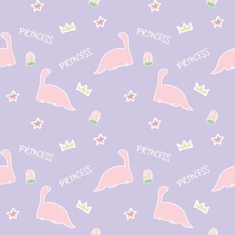 Vector illustration of seamless pattern of cute princess pink dinosaur animal wildlife