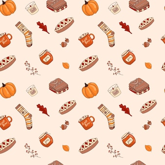 Vector illustration of a seamless pattern of doodle icons-stickers on the autumn theme. warm colors, cartoon cozy style.