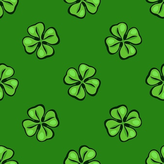 Vector illustration seamless pattern green clover leafs good luck and saint patricks day symbol