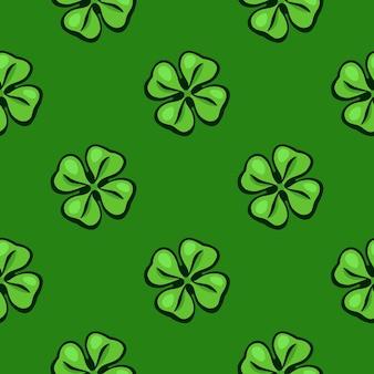 벡터 일러스트 레이 션 원활한 패턴 녹색 클로버 잎 성 패트릭의 날 상징