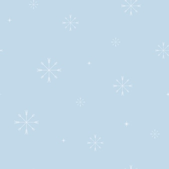 Vector illustration seamless pattern. minimalistic white snowflakes on a blue background. winter and christmas decoration for fabrics and wrapping paper.