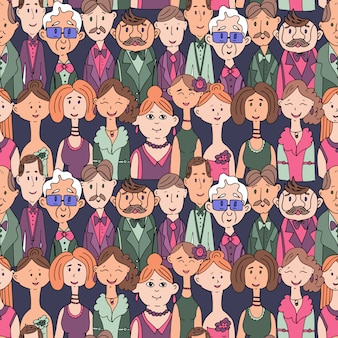 Vector illustration of a seamless pattern of portraits of people in clothes.