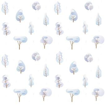 벡터 일러스트 레이 션. 낙서 이미지의 원활한 패턴 t입니다. 파란색 팔레트에 있는 만화 나무, 다양한 모양의 눈 덮인 겨울 왕관. 배경 장식