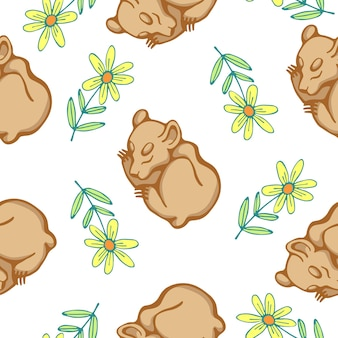 Vector illustration of seamless pattern with baby bears and flowers isolated on white background