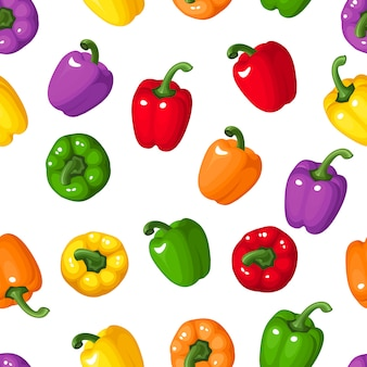 Vector illustration of seamless pattern with bell peppers of various colors.