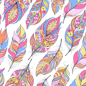 Vector illustration of seamless pattern with colorful abstract feathers