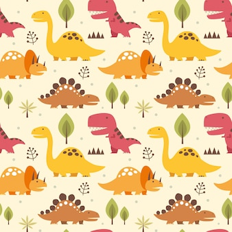Vector illustration seamless pattern with dinosaurs