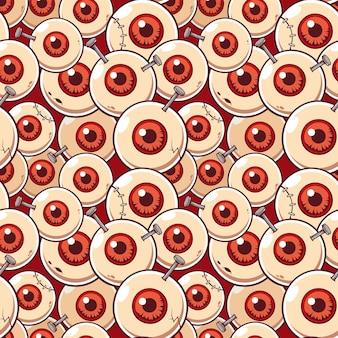 Vector illustration seamless pattern with eyeball zombie