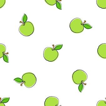 벡터 일러스트 레이 션 흰색 배경에 줄기와 잎 녹색 사과와 원활한 패턴