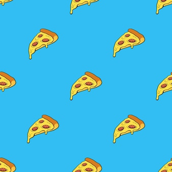 Vector illustration seamless pattern with pizza slice in pop art style on blue background