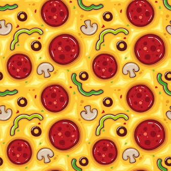 Vector illustration seamless pattern with pizza