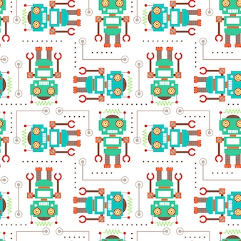 Vector illustration seamless pattern with Robot