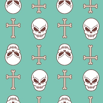 Vector illustration seamless pattern with skull and bone