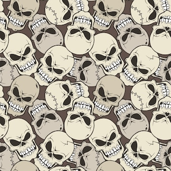 Vector illustration seamless pattern with skull cartoon