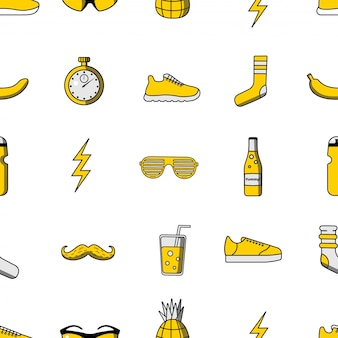 Vector illustration seamless pattern with sport icons