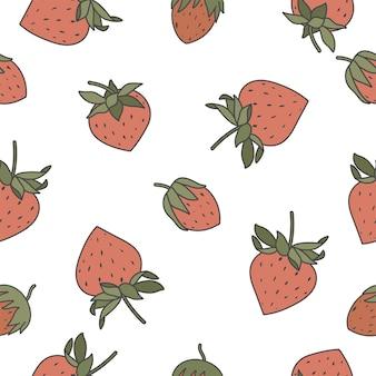 딸기와 벡터 일러스트 레이 션 완벽 한 패턴입니다. 종이, 표지, 직물, 실내 장식을 위한 빈티지 추상 디자인,