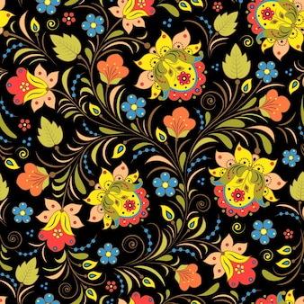 Vector illustration of seamless pattern with traditional russian floral ornament, khokhloma.