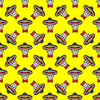 Vector illustration of seamless pattern with various multicolored traditional mexican calaveras or s...